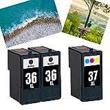 Ouguan 3X (2 Negro, 1 Tricolor) remanufacturado Cartucho de Tinta Lexmark 36 37 Compatible con Lexmark x3650 x 4650 x 5650 x 6650 x 6675 Z2420 Impresora.
