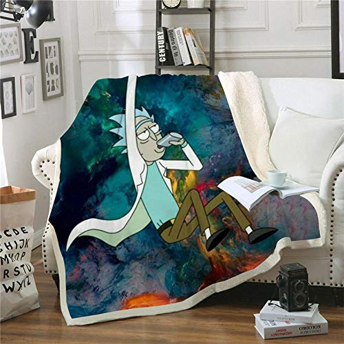 NSWSYDM Adulto Niños Microfibra sofá de la Manta 3D Viejo En Bata Blanca contra El Cielo Colorido Manta Estampado Caliente Suave Franela, para Ropa de Cama, Sofá, Camping, Viajar Mantas 150x200 cm