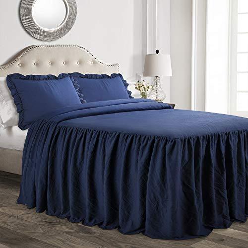 Full 3pc Ruffle Skirt Bedspread Set Navy - Lush Décor