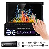 EZoneTronics Single 1 Din 7 inch Slip Down Car Stereo,in Dash 1080P Retractable Car Radio TFT/LCD Touch Screen Car FM Radio Receiver with USB/SD,MP4/MP5 Car Player Support Rear Camera