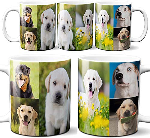 DIY Full Width Custom Personalized Full Print Mug Photo Picture 11 Ounce Coffee Mugs | Add Up to 6 Images in Mug | No Minimums - Great for Animal and Family Photos | 11 Ounce White Custom Coffee Mug