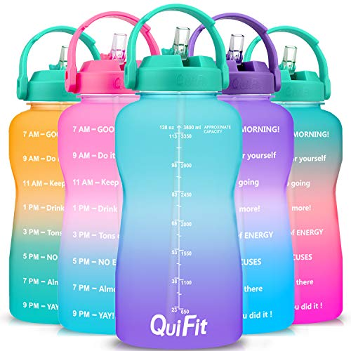 QuiFit 3.8 L Motivational Straw Water Bottle - with Time Marker,BPA Free,Leak-Proof Durable,for Fitness Outdoor Enthusiasts (Green-Purple, 3.8L)