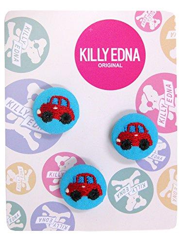KILLYEDNA(キリィエドナ) 刺繍くるみボタン キリーズマーブル 3個セット20mm 赤いミニカー