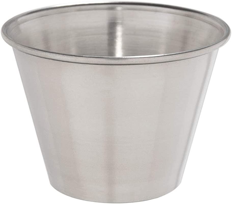 Choice 2 5 Oz Smooth Stainless Steel Round Sauce Cup 12 Pack