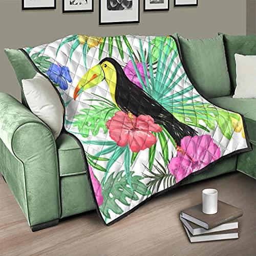 AXGM Colcha de hibisco, pájaro, flores y loros, manta cálida, 230 x 260 cm, color blanco