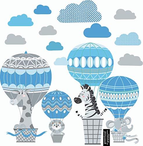 greenluup ÖKO Wandsticker Wandtattoo Kinderzimmer Heißluftballons Tiere Blau Grau Wolken Waldtiere Kinderzimmer Babyzimmer Baby (C5)