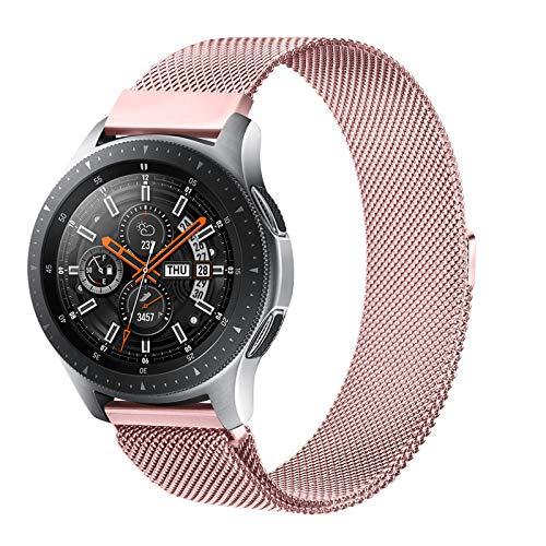Senka 22mm Metal Correa Compatible con Samsung Galaxy Watch 3 45mm/Galaxy Watch 46mm/Gear S3,Pulseras de Repuesto de Inoxidable para Huawei Watch GT 2 46mm(22mm,Rosa)