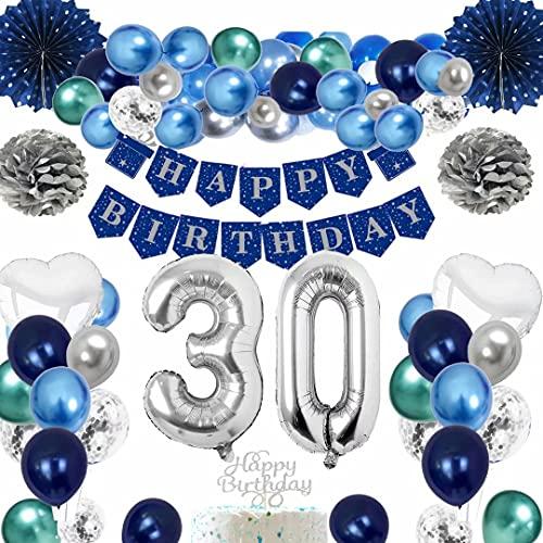 TOPLDSM Palloncini Compleanno 30 Anni Uomo, Palloncini Blu Addobbi per Feste di Compleanno, Decorazione 30 Compleanno con Striscione Buon Compleanno Blu, Palloncino Foil Argento Anni 30