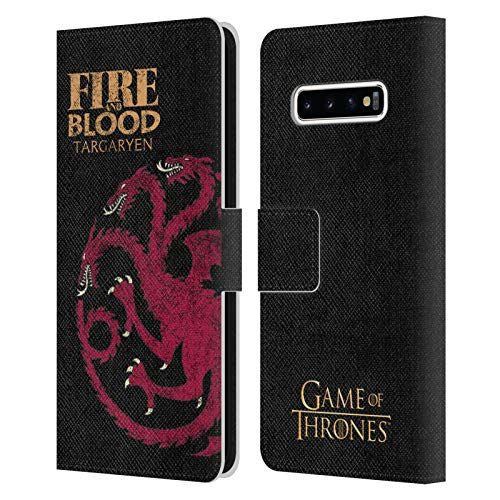 Head Case Designs Officially Licensed HBO Game of Thrones Targaryen House Mottos Leather Book Wallet Case Cover Compatible with Samsung Galaxy S10+ / S10 Plus
