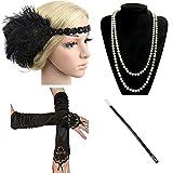 Ebeta 1920's Accesorios para Disfraz de charlestn Disfraz de los aos 20 (Venda para el Pelo, Collar de Perlas, Canastilla de cigarro,Guantes) (F)
