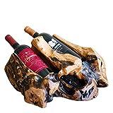 WELLAND Wood Countertop Wine Bottle Holder, Rustic Tabletop Wine Bottle Rack, Tree Stump Wine Rack for 2-Bottle | Natural Edge, Irregular Shape, Different Sizes