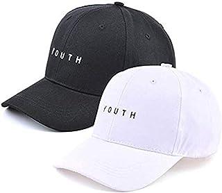 Pack of 2, Plain Baseball Cap,Embroidery Hip Hop Dad Snapback Hat, Adjustble, Black and White Hat