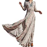 Oulifa Women's Long Sleeve V Neck Boho Floral Cocktail Evening Party Long Dress