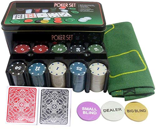HOW (HOUSE OF WISHES) with Device 200 Chips, Cards, Mat, Dealer/Blind Tokens Poker-Set (Tin Case Safe Pack)