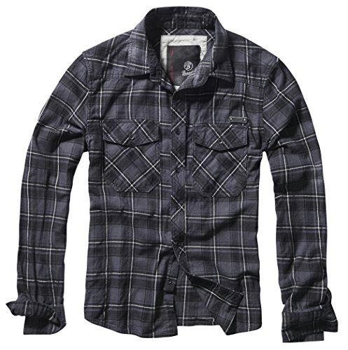 Brandit Check Shirt Herren Baumwoll Hemd M Grau/Schwarz/Weiß