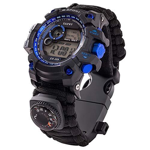 wasserdichte Multifunktionsuhr, Outdoor-Überlebensfallschirm-Armband, verstellbares Outdoor-Camping-Black