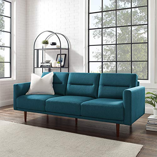 """Volans 79"""" Modern Fabric Three-Seater Sofa Couch with Solid Wood Frame, Large, Turquoise"""