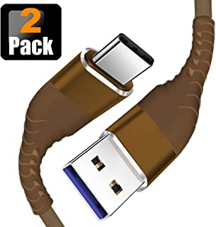 Housailei USB 3.0 to Type-C 5G 640AM Fabric Braided Fast Charging & Data Transfer 2Pack (4FT) 9 Core Wires for Any TYPEC Devices (Brown)