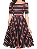 oxiuly Women's Vintage Off Shoulder Pockets Casual Striped A-Line Party Cocktail Swing Dress OX232 (L, Blue Stripe)