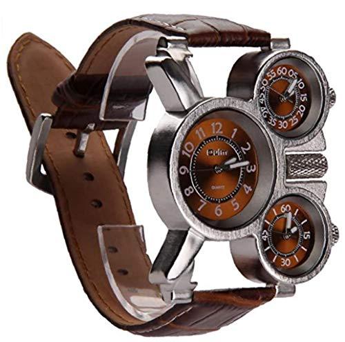NaisiCore Reloj de Tres diales analógicos de los Hombres multifuncionales Manos Luminosas diseño de la Correa de Cuero cómodos (marrón) 1 Paquete