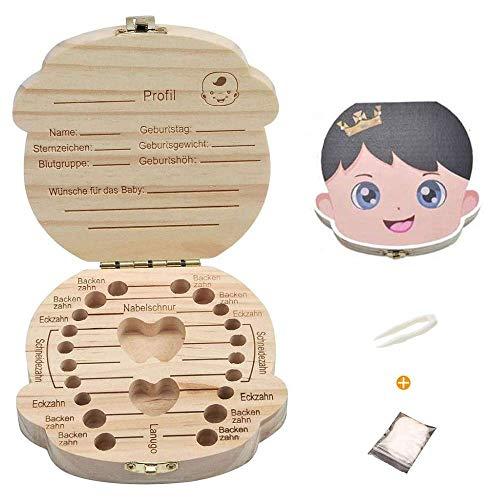 Zahnbox aus Holz,Baby Milchzähne Box Aufbewahrungsbox für Kinderzähne Zahn-Gedächtnisschachtel Geschenk für Jungen und Mädchen mit Pinzette und Baumwolle (Junge)