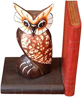 Design by UnseenThailand Animal Wooden Bookend Handcrafted In Shape (Wooden Owl Type 2, 2