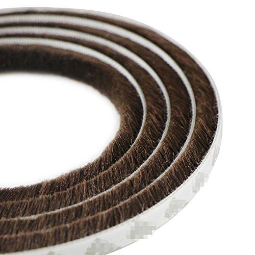 UOOOM 5 m a Prueba de Viento de Polvo Puerta Ventana Strip Pegatina de Sellado Cepillo Strip 9 x 9 mm (Marrón)