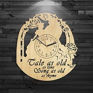 Beauty and The Beast Clock, Disney Wood Clock, Beauty and Beast Wood Clock, Gift for Girl, Birthday Gift, Wall Clock Modern, Wall Clock Modern, Beauty and Beast Wooden Clock, Cartoon Gift for Kids