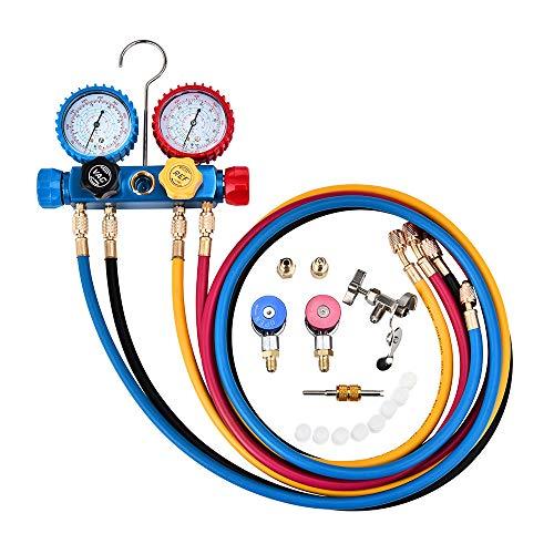 4YANG 4-Wege-AC-Diagnoseverteiler-Messgeräteset für Freon-Aufladung und Evakuierung der Vakuumpumpe, passend für Kältemittel R134A R410A und R22, mit einstellbaren Kupplungen und Abgriff