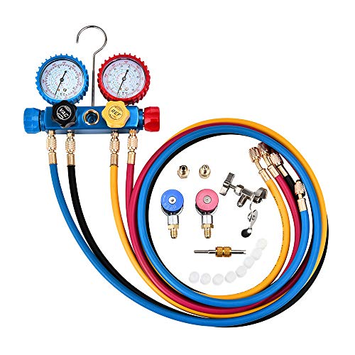 HUKOER Professional 4 Wege Wechselstrom Diagnose Manometer Set für Freon Aufladung und Vakuumpumpen Evakuierung, passend für Kältemittel R134A R410A und R22 mit 4-farbigem langen Freon-Aufladeschlauch