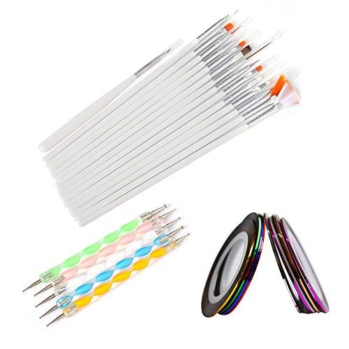 Artlalic Lot de 15 pinceaux pour nail art + 5 stylos à pointiller à 2 voies + 10 bandes adhésives à rayures