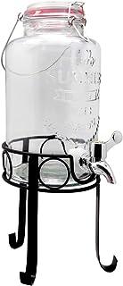 NERTHUS FIH 285 - Dispensador de 3L con soporte, dispensador de bebidas de vidrio con grifo y soporte incorporados