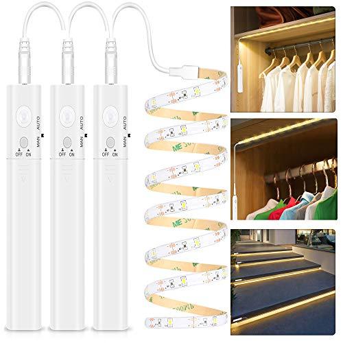 LED Band mit Bewegungsmelder - Warmweiß, Kleiderschrank Beleuchtung Stripe, Bewegungssensor Licht Leiste, Überall Aufkleben Nachtlicht für Schlafzimmer, Treppe, Schrank(3 pack | Batterie)