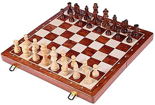 Conjunto de ajedrez Plegable de madera Plegable de madera grande Juego de ajedrez de madera sólido Piezas de madera sólida Nuez Tablero de ajedrez Niños Entretenimiento Juego de regalos, ajedrez inter