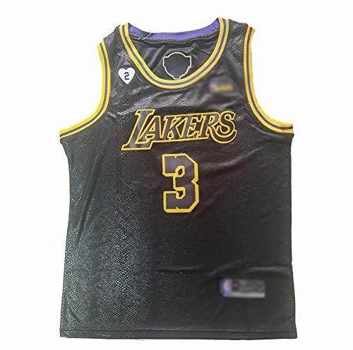 CHSC Maglia da Basket da Uomo-Lakers # 3 Davis,Tifosi finali Basket Abbigliamento T-Shirt Top,Jersey Smanicata Versione Ricamo,Canotta per Ragazzi-Modello Serpente Nero A-XX-Large