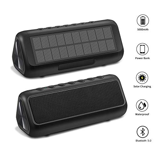 Solar Bluetooth Speaker, Portable Wireless Bluetooth Speakers Audio High Power 12W Power, 36 Hours Playback Time (Built-in 5000mAh Battery) One Pack