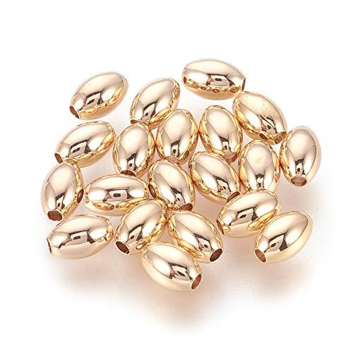 Cheriswelry - 20 espaciadores ovalados de 6 mm con cuentas de oro liso, forma de arroz, chapado en oro de 18 quilates, cuentas de latón brillante para joyería, pulseras, manualidades, agujero: 2,5 mm