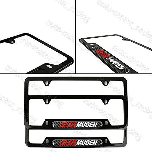 JDM Real Carbon Fiber Emblem MUGEN Black Stainless Steel License Plate Frame x2