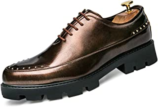 Sygjal Men's Oxfords Genuine leather Chunky Heel Solid Color Comfortable Shoes (Color : Gold, Size : 39 EU)