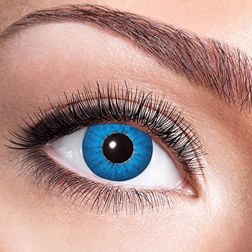 Alsino Farbige Kontaktlinsen Wochenlinsen 1 Paar Bunt Gruselig ohne Stärke für Mottopartys Halloween Fastnacht Karneval Fasching Kostüm Accessoire, (w17) Electric Blue