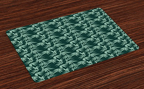 Lunarable Green Oriental Place Mats Set of 4, Garden Art Scattered Silhouettes of Bamboo Leaf Ornament, Washable Fabric Placemats for Dining Room Kitchen Table Decor, Almond Green and Hunter Green