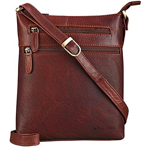 STILORD 'Juna' Damen Umhängetasche Leder braun Handtasche kleine Schultertasche Vintage Damentasche Ausgehtasche für Freizeit Party 9,7 Zoll Tablet iPad Echtleder, Farbe:Siena - braun