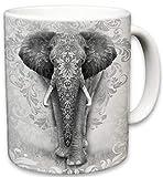 Elephant Mug, Cute Animal Ceramic Travel Mugs, Coffee Lovers Cup, Elephants Design, Great Novelty Gifts, Decorative Home Kitchen Drinkwear, Multi Color 11 Fl Oz