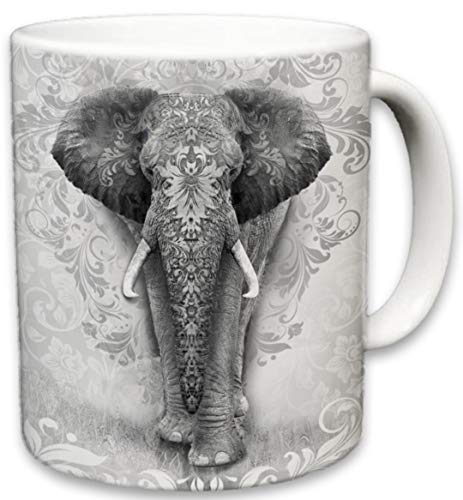 Elephant Mug, Cute Animal Ceramic Travel Mugs, Coffee Lovers Cup, Elephants Design, Great Novelty Gifts, Decorative Home Kitchen Drinkwear, Multi Color 11 Fl Oz