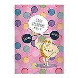 1 personalisiertes, buntes Zirkus Gewichtheber DIN A4 Schulheft, Rechenhefte mit Punkten auf rosa...