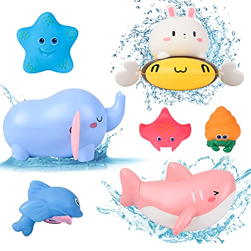 FORMIZON Animal Mecánica Niños Juguete de Baño, 7 Piezas Juguetes de Baño Flotantes, Juguetes Baño para Bebés, Juguete para Bañera Regalos para Bebés Niños y Niñas