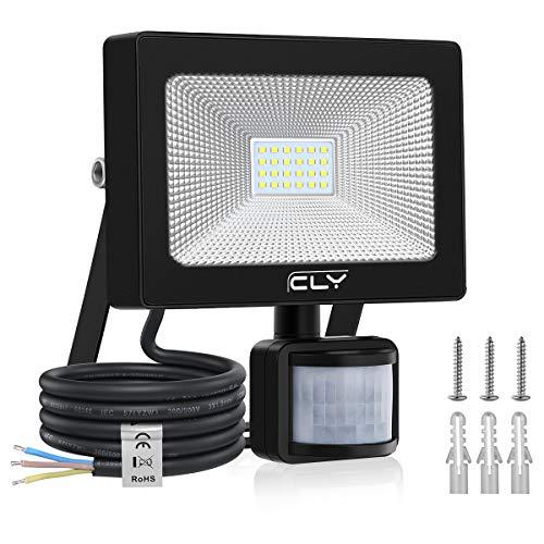 CLY Faretto con Sensore di Movimento 20W Luce di Sicurezza Impermeabile IP66, Faro LED Esterno con Sensore, 2000LM Bianco Freddo 6500K, Faretti LED per Giardino, Corridoio, Terrazza, Patio