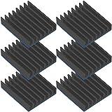 Tuloka 6個ヒートシンク アルミニウム heatsink 導熱接着シート付き 熱暴走対策 ICチップ 回路基板 LEDアンプに適用, 黒 22mm×22mm×6mm