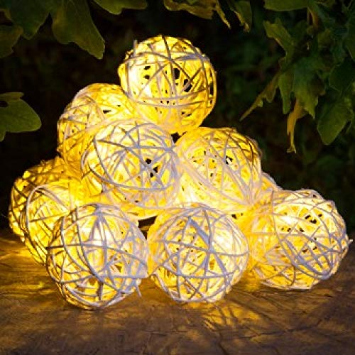 Noma Solar 10 Rattan Balls Warm White Multifunction Garland with Static Function
