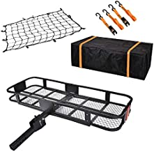 USSerenaY Hitch Mount Cargo Carrier - Hitch Cargo Carrier with Net, Waterproof Cargo Bag and 2 Reinforced Straps - Folding Car Basket Tralier Luggage Hitch Carrier L60